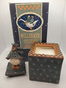 Retired Williraye Studio Square Candle W/snowman And Shoes Crazy Mountain Imports