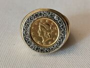 Vintage One Dollar Gold Coin Ring With Diamonds
