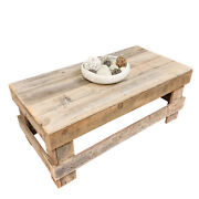 Farmhouse Coffee Table Rectangular Solid Reclaimed Wood Rustic Natural Finish