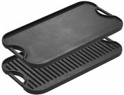 Pre-seasoned Cast Iron Reversible Grill/griddle With Handles, 20 Inch X 10.5 In