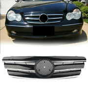 3-pin Amg Style Front Grill Grille Black For 2000-06 Mercedes Benz C Class W203