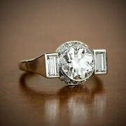 Vintage And Antique Iconic Incredible Ring 14k White Gold Over 2.4ct Round Diamond