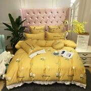 Pineapple Flower Embroidery Duvet Cover Queen King Size Bedding Set Bed Sheet