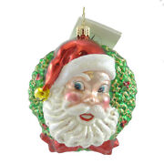 Christopher Radko The Mister And Missus Blown Glass Ornament Santa Claus Wreath