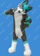 Long-haired Wood Gray Wolf Husky Mascot Costume Suits Cosplay Party Fancy Dress