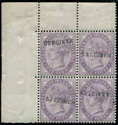 1d Sg 172as 16 Dots And039bluish-lilacand039 Ovpt And039specimenand039 Type 9 Block Of Four U/m