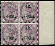 I.r.1d Sg 03a Ovpt In And039blue-blackand039 Block Of Four U/m Sheet Marginal. Pristine