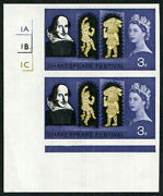 1964 Shakespeare 3d Sg 646 The Unique Imperf And039imprimaturand039 Corner Marginal Cylin
