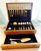 Flatware Farberware Regal-gold Electroplate 46 Pc + Wooden Storage Chest Used 1x