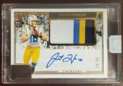 2020 Panini One Justin Herbert 4 Color Patch Rpa Rc On Card Auto 30 /35