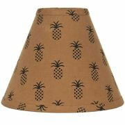 New Primitive Colonial Tan Black Pineapple Lamp Shade Clip On 10