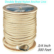 3/4x300ft Double Braid Nylon Rope Anchor Line With Stainless Thimble Dock Line