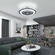 Modern Creative Round Ceiling Fan Led Light Timing Setting W/ Remote Control
