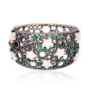 18k Gold Natural Pearl Emerald And Diamond Wide Bangle Sterling Silver Jewelry