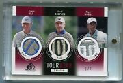 2013 Ud Sp Game Used Tour Gear Trios Patch/swatch Tiger Woods/couples/els 1/2