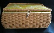 Vintage Sewing Basket Dritz Scoville Woven Wicker Filled/craft Supplies Kits