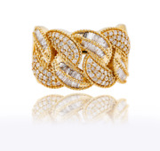 Mens Round And Baguette Diamond Ring In 14k Yellow Gold 1.12ct