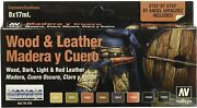Vallejo Acrylic Wood And Leather Colors Paint Set 8 17ml Bottles