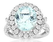 Large 4.3ct Diamond And Aaa Aquamarine 14k White Gold Oval And Round Flower Fun Ring