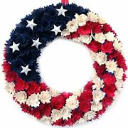 July 4th Wreath Boxwood Handcrafted Memorial Day Wreath Festival Garland Blue