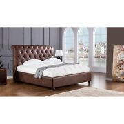 Leatherette Upholstered Wooden Queen Size Bed With Button Tufted Headboard B...