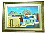 Richard Vaskelis Canadian 1947-2010 Rooftop View Painting Oil On Canvas