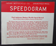 Vintage Indian Motocycle Speedogram Motorcycle Worlds Speed Record 1920s 159 Mph