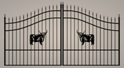 Wrought Iron Style Steel - Iron Driveway Gate 12and039 Wd Entry Yard Home Security