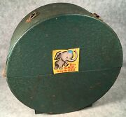 """Antique Green Steel Metal 78rpm 10"""" Record Carry Case Round Box With No Handle"""
