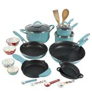 24 Piece Cookware Combo Set Turquoise The Pioneer Woman Frontier Speckle Kitchen