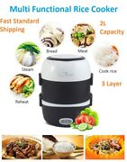 Electric Rice Cooker 3 Layers 2l Portable Egg Boiler Food Warmer Lunch Box Steam