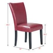 High Elastic Pu Leather Dining Chair Red 2pcs High Bar Chair Back Stool Chair