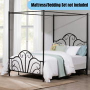 Queen Size Metal Canopy Bed Frame Elegant Whimsical Scrolls And Arch Design Black
