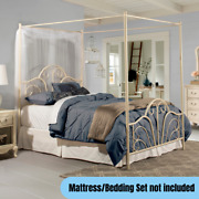 Queen Size Metal Canopy Bed Frame Elegant Whimsical Scrolls Design Cream Finish