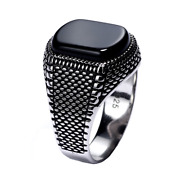 New Stile Mens Ring Sterling Silver 925 Black Onxy Stone Fatherand039s Day Present