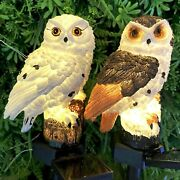 Solar Power Led Owl Lights With Stake Garden Yard Landscape Pathway Decor Lamp