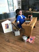 American Girl Retired Addy's School Story, Desk, Dress And Accessories