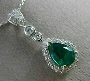 Antique 1.31ct Diamond And Colombian Emerald 14kt White Gold Pear Pendant 21007