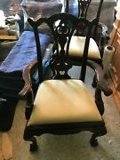 Maitland Smith Mahogany Chippendale Dining Room Arm Chairs Ball Claw