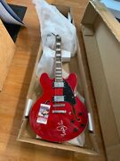 Michael J Fox Hand Signed Back To The Future Guitar Red Hollow Body Jsa Ip Marty