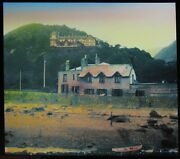 Tinted Glass Magic Lantern Slide Low Water At Lynmouth Dated 1919 Photo Devon