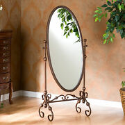 Elegant Oval Cheval Standing Mirror Antique Style Scrolled Metal Bronze Finish