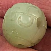 Carved Jade Pendant Bead 4 Holes For Mala Necklaces 19mmx20mm 4
