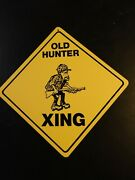 Old Hunter Hunting Large 16 Inches Point To Point Yellow Crossing Vinyl Sign