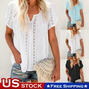 Womens Summer Casual Loose Lace Blouse Short Sleeve White T-shirt Tops Plus Size