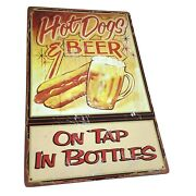Metal Tacker Sign Hot Dogs And Beer On Tap In Bottles Retro Made To Look Old Rusty