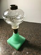 circa 1860's Sandwich Pressed Ring Punty Lamp With Pressed Green Base