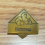 Vintage Rare Gold Tone Michelin Tire Man Collectible Thumbs Up Lapel Pin