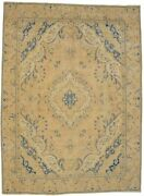Traditional Floral Style Antique Muted Beige 9x12 Distressed Oriental Rug Carpet