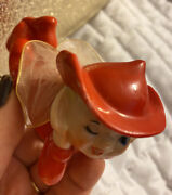 Elf Girl Pixie Figurine Red With Hat Wings Winking Vintage Large Adorable Japan
